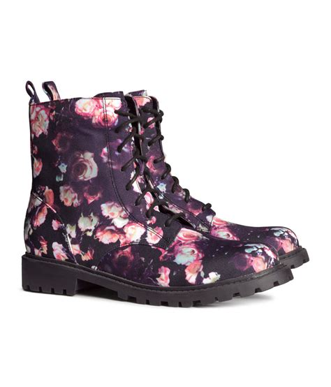 h and m boots h m boots in floral black floral lyst