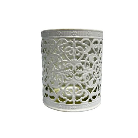 decorative cup candle holder white