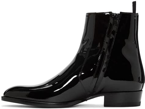 mens patent leather boots handmade mens fashion black patent leather boots side