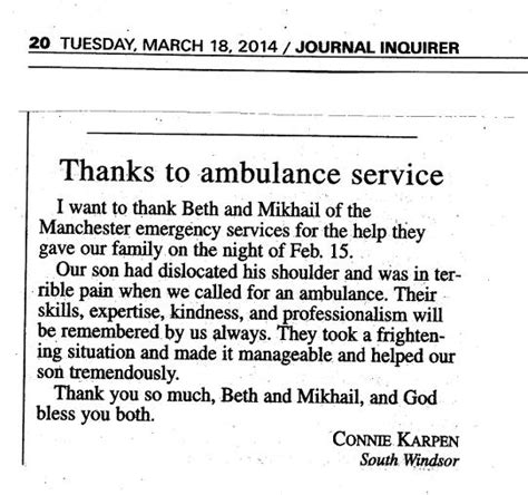 thank you letter to your before leaving letter to the editor praises asm s beth sheils and mikhail