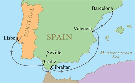 iberian peninsula map spain portugal golf vacation kalos golf cruises