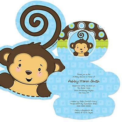 Monkey Boy Baby Shower by Blue Monkey Boy Shaped Baby Shower Invitations Bigdotofhappiness