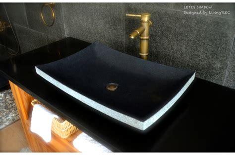 24quot black granite natural stone vessel sink lotus shadow