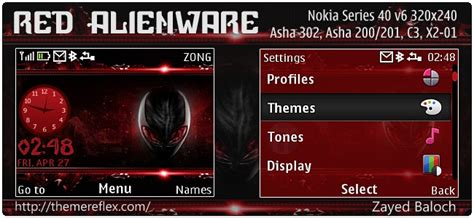 java themes x2 red alienware theme for nokia asha 302 c3 00 x2 01 320