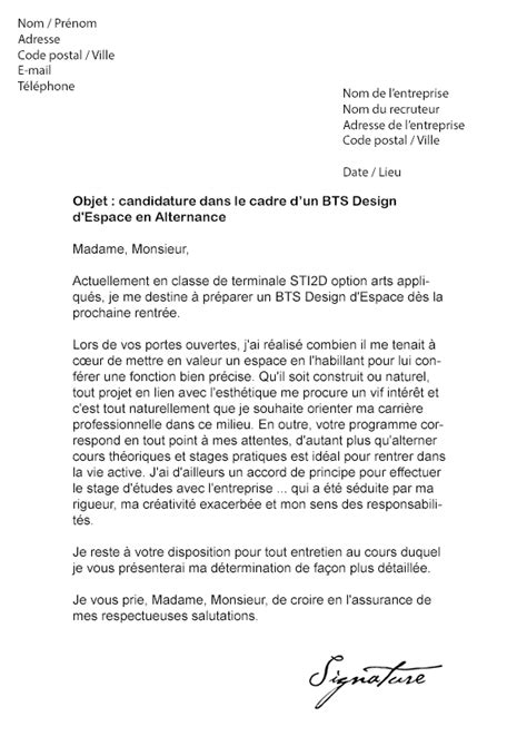 Lettre De Motivation Stage Design Lettre De Motivation Bts Design D Espace Alternance