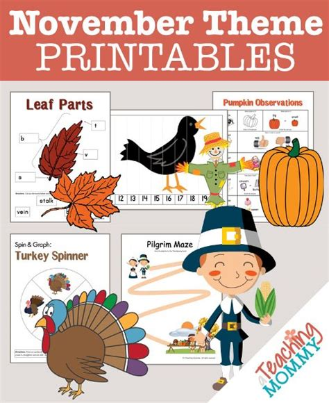 Kindergarten Themes For November | free november themed printables a teaching mommy