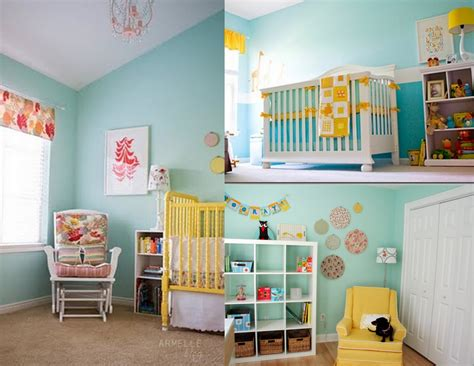 decoration baby nursery room decorating ideas green wall paint yellow crib light blue