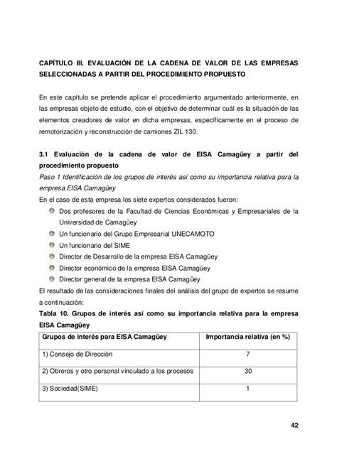 cadena de valor tesis evaluaci 243 n la cadena de valor de las empresas integrales