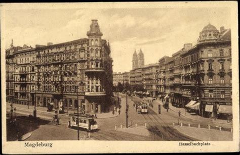 bank magdeburg ansichtskarte postkarte magdeburg hasselbachplatz