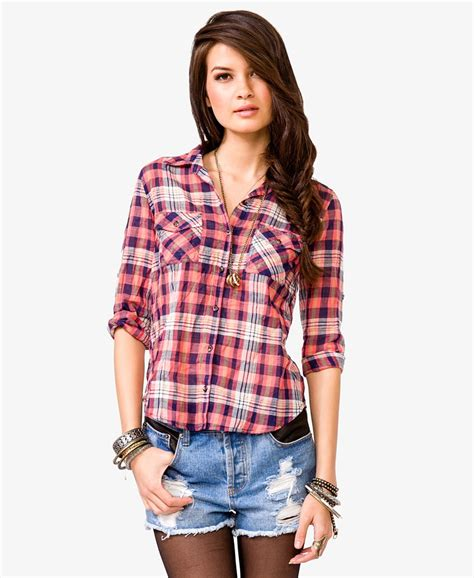 Alana Shirt In Pink Plaid forever 21 semi sheer plaid shirt in pink lyst