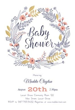 Friendship Wreath Baby Shower Invitation Template Free Greetings Island Baby Shower Text Template