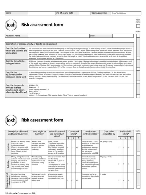 shop risk assessment template 4 2 risk assessment project sle metal fabrication