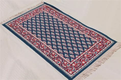 vintage fringed wool area rug small carpet woven