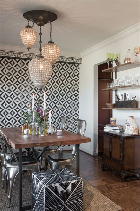 eclectic dining room  st louis high rise condo