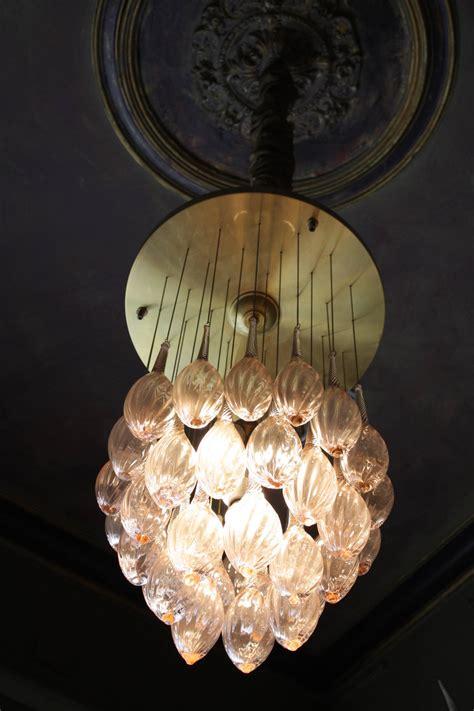 Italian Mid Century Modern Brass And Pink Murano Glass Teardrop Chandelier