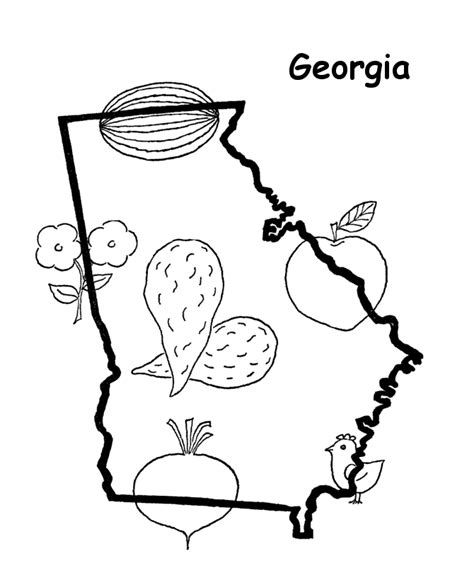 coloring page map of georgia usa printables state outline shape and demographic map
