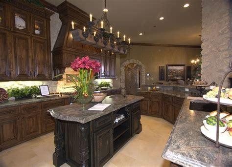 Kitchen with distressed knotty alder cabinets, limestone