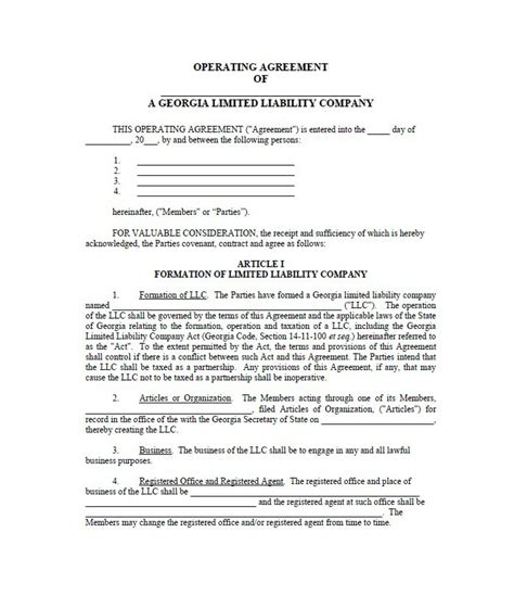 Operating Agreement Colorado Llc Operating Agreement Template