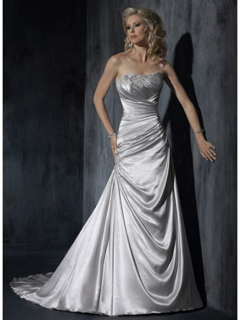 Silver Wedding Dresses Uk by Modest A Line Strapless Sweep Silver Satin Wedding