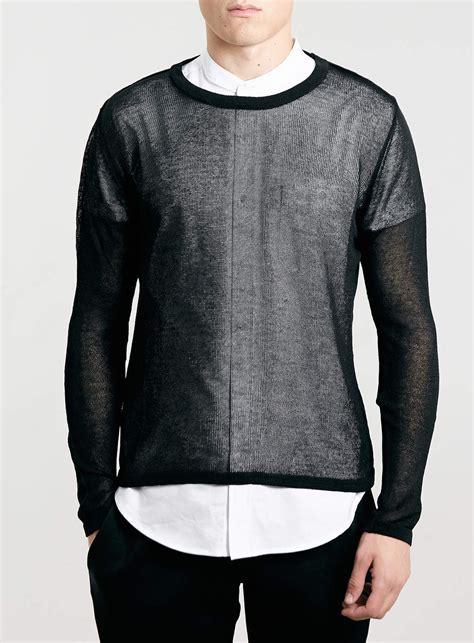 Sweater Topman Topman Black Sheer Sweater In Black For Lyst