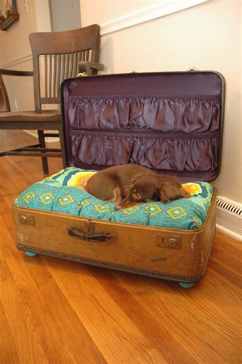 suitcase dog bed suitcase pet bed with old stickers by hersheyismybaby on etsy