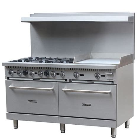 Commercial Kitchen Range black commercial gas stove 60 inches griddle 24