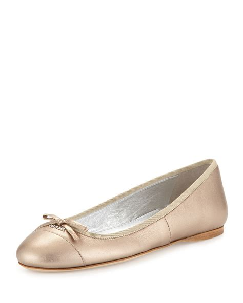 prada flat shoes lyst prada metallic leather ballet flats in metallic