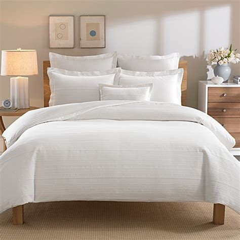 real simple bedding real simple 174 linear white duvet cover bed bath beyond