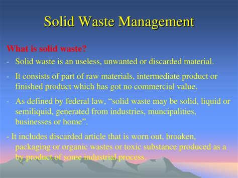 waste management ppt ppt solid waste management powerpoint presentation id