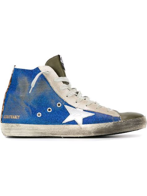 blue and sneakers golden goose deluxe brand francy hi top sneakers in blue