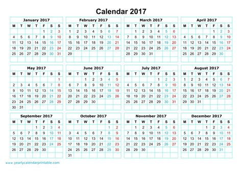 2017 calendar template yearly calendar 2017 printable yearly calendar printable
