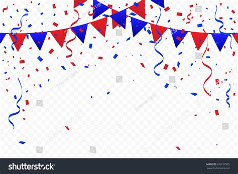 red blue party flags confetti ribbons stock vector