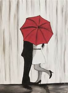 couple in rain painting couple kissing in the rain wall