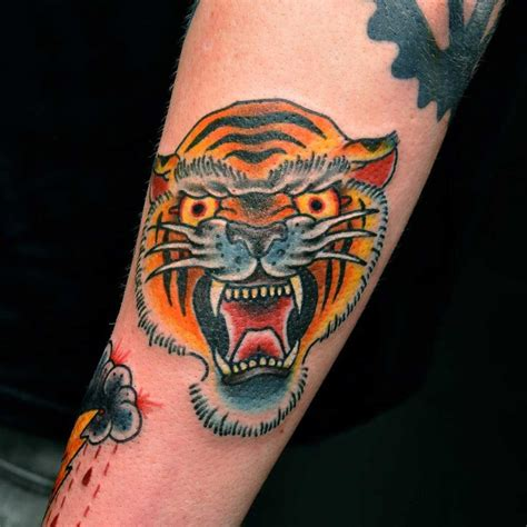 traditional tiger head tattoo traditional tiger by phil gibbs stand proud