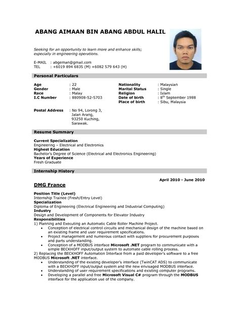 how to write internship resume exles of resumes sle application cv appeal