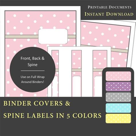 printable notebook labels printable binder covers spine label inserts in 5 colors