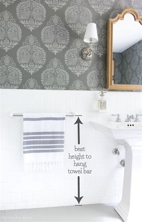where to install towel bar in bathroom must have measurements for your bathroom how high to hang