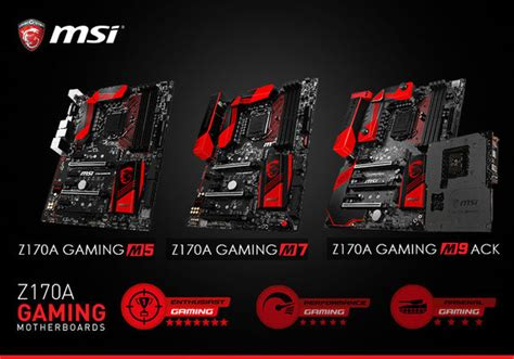 Mainboard Asrock Fatal1ty Z170 Gaming K6 Atx Lga 1151 msi shows three z170 gaming motherboards and features