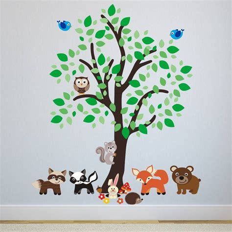 forest wall sticker forest tree with woodland animals wall sticker by mirrorin