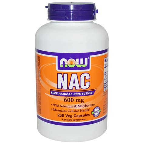 supplement nac now foods nac 600 mg 250 veggie caps iherb