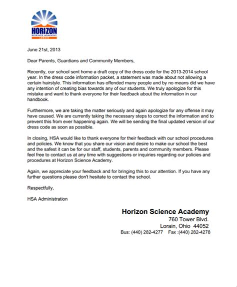Apology Letter To From Parents Horizon Parents Horizon Science Academy Dba Concept Schools Racism Letter Of Apology To