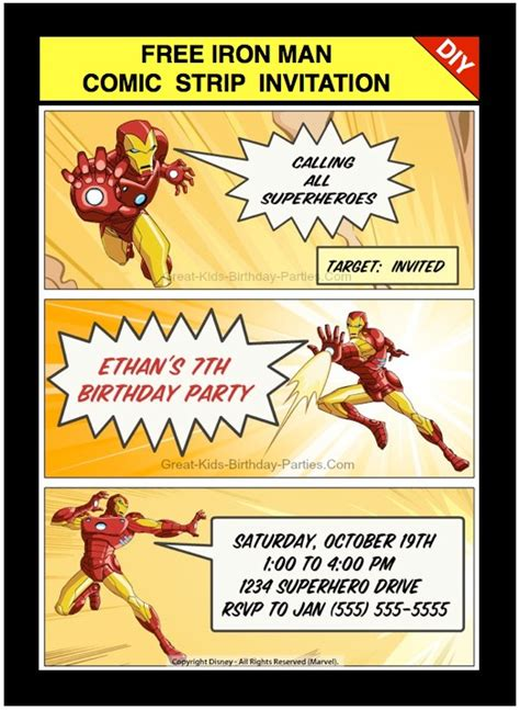 printable iron man invitations looking for ideas for kids birthday parties