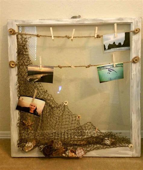 Fishing Themed Bathroom Decor Shabby Themed 1940 S Barn Glass Window Pane Nautical Theme Net With Sea Shell Decor And