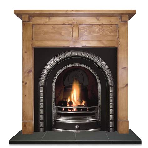 Reproduction Cast Iron Fireplaces by Henlay Polished Highlighted Cast Iron Fireplace Insert