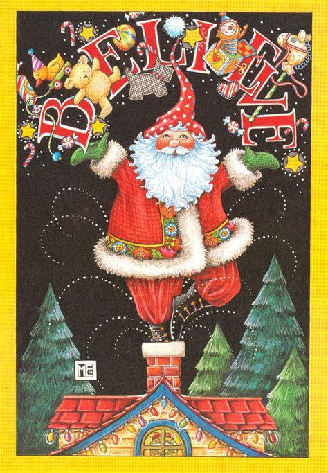 santa christmas card  mary engelbreit contrarymary  flickr xmas winter joy