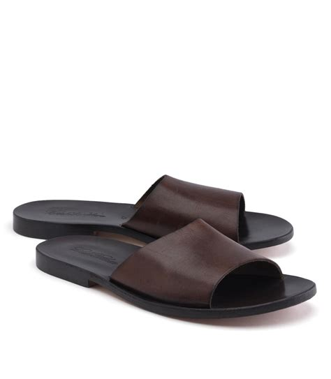 brothers leather slide sandal in brown for lyst