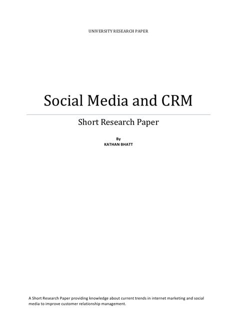 short thesis about social media social media and crm short paper
