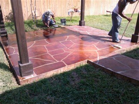 Slab Patio Makeover by Cement Patio Makeover Concrete Impressions Engraved