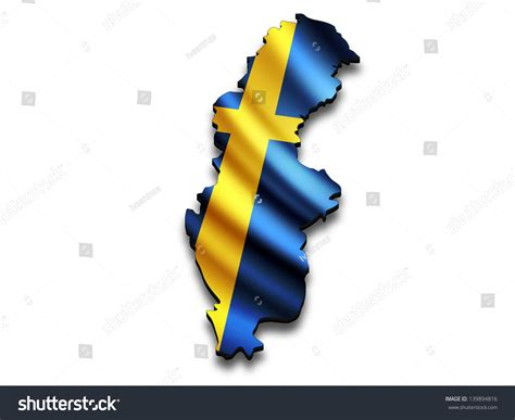 Swedish Address Lookup Flag Map Of Sweden In Perspective Waving Swedish Flag Clipped In Country Shape Stock