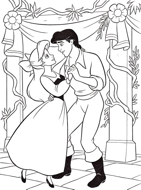 Walt Disney Coloring Pages Princess Ariel Prince Eric Princess Ariel And Eric Coloring Pages Printable